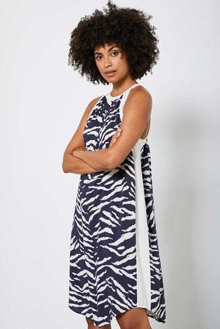 Mint Velvet Brown Mara Print Halter Neck Dress