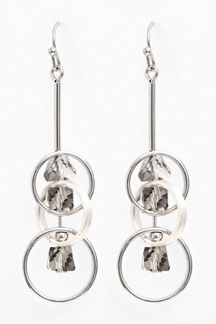Silver Tone Circle Shapes Drop Earrings
