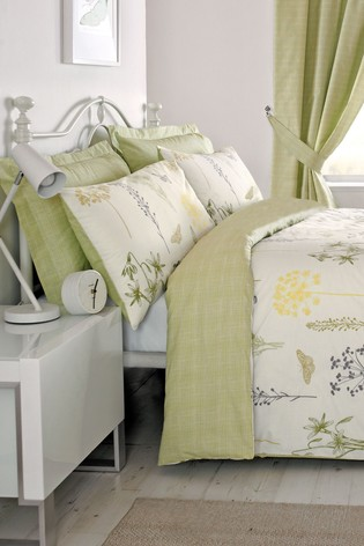 D&D Green Botanique Duvet Cover And Pillowcase Set