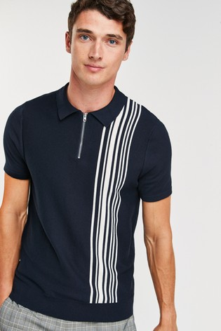 Navy Vertical Stripe Cotton Zip Knitted Polo