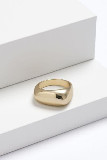 Gold Tone Organic Shape Chunky Ring
