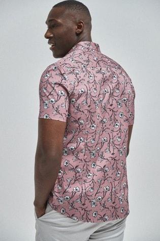 Pink Floral Print Short Sleeve Shirt