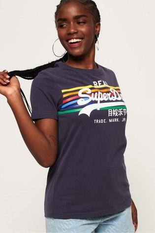 Superdry Vintage Logo Rodeo Rainbow Stripe T-Shirt
