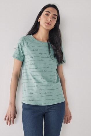 Teal Squiggle Stripe Raglan T-Shirt
