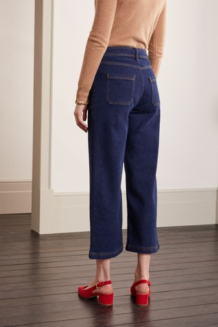 Boden Blue Cropped Wide Leg Cargo Jeans