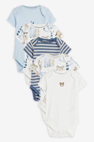 Blue 5 Pack Bear Short Sleeve Bodysuits (0mths-3yrs)