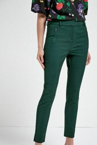Green Skinny Zip Trousers