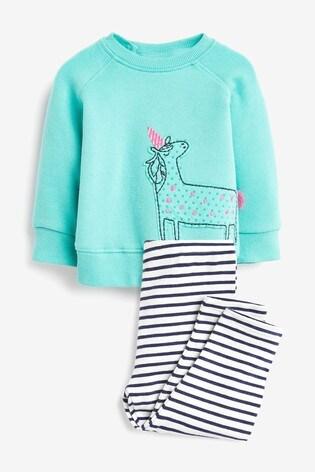 Teal 2 Piece Bright Unicorn Sweater Set (0mths-2yrs)