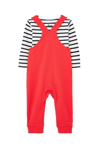 Joules Red Wilbur Jersey Dungaree Set