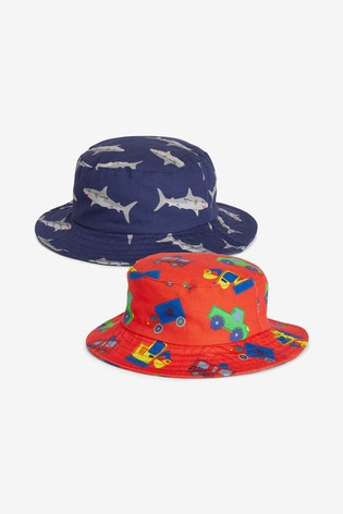 Red/Blue 2 Pack Shark/Transport Fisherman's Hats (3mths-10yrs)