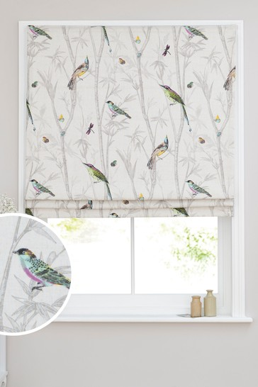Chinoiserie Bird Trail Country Luxe Roman Blind