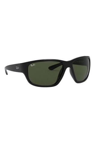 Ray-Ban® Black Wrap Round Sunglasses