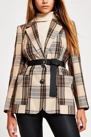 River Island Brown Check Belted Turlington Jacket