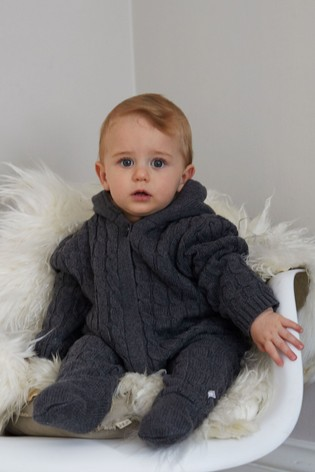 The Little Tailor Grey Baby Knitted Pramsuit