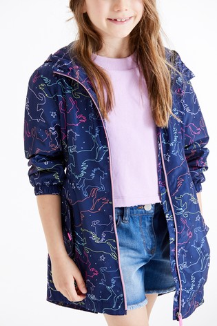 Navy Shower Resistant Longline Cagoule (3-16yrs)