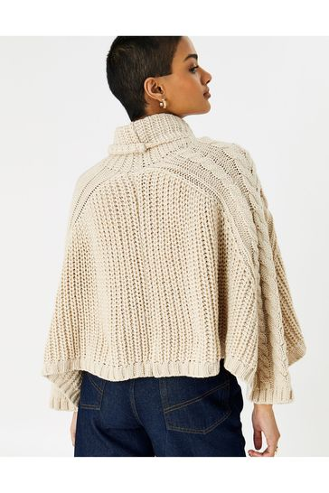 Accessorize Natural Cabel Knit Poncho