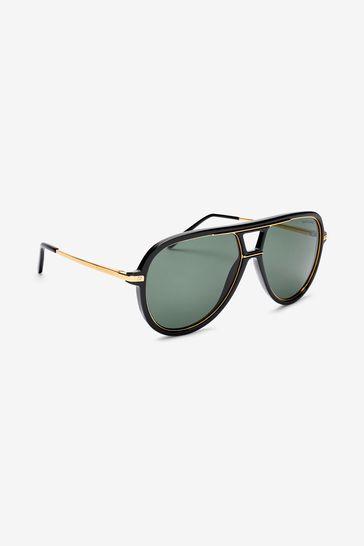 Ralph Lauren Black And Gold Sunglasses