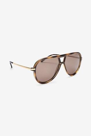 Ralph Lauren Tortoiseshell Effect And Gold Sunglasses