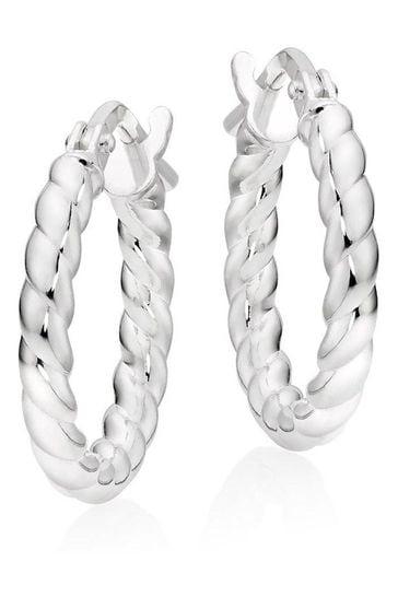 Beaverbrooks Silver Twist Hoop Earrings