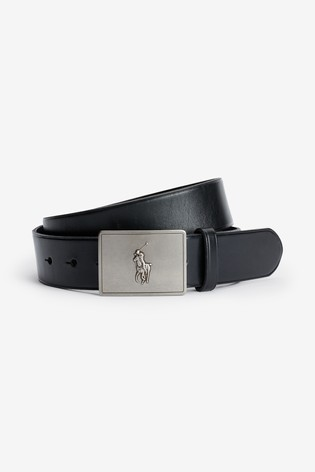Polo Ralph Lauren® Black Logo Plate Leather Belt