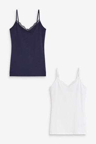 Navy/White Lace Trim Vests Two Pack