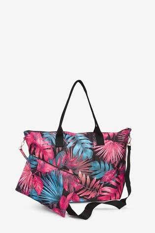 Pink Floral Fold-Away Beach Bag