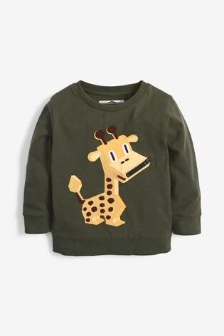 Khaki Giraffe Zip Lightweight Crew Top (3mths-7yrs)