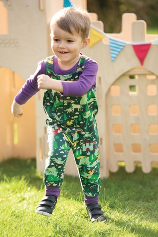 Frugi GOTS Organic Long Wear Dungarees - Green Knight and Castle