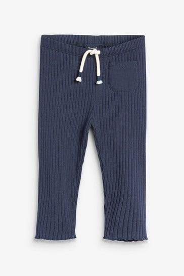 Navy Soft Rib Leggings (3mths-7yrs)