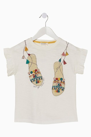 FatFace Natural Sandals Graphic T-Shirt