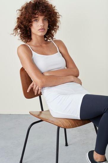 White Longline Thin Strap Vest