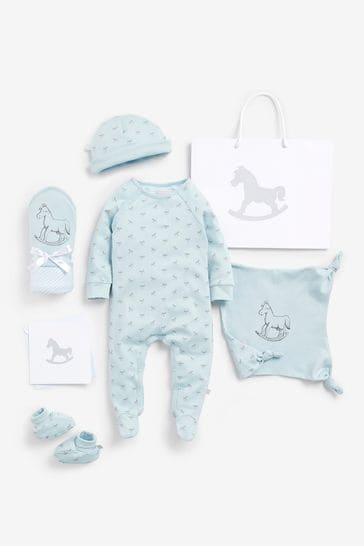 The Little Tailor Blue Blanket & Comforter, Booties Gift Set