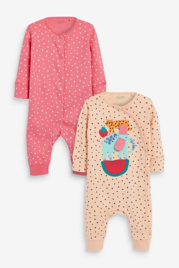 Pink Spot 2 Pack Sleepsuits (0mths-3yrs)