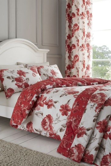Painted Floral Duvet Cover and Pillowcase Set by Catherine Lansfield