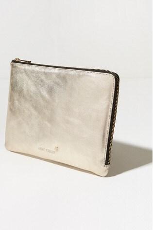 Mint Velvet Gold Leather Travel Wallet