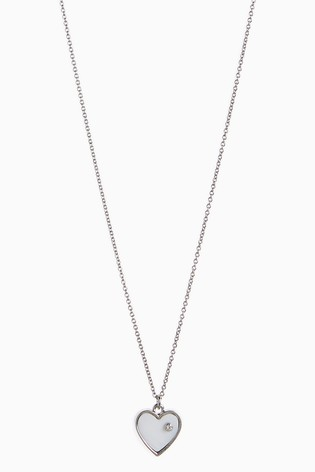 Silver Tone Love Heart Short Pendant Necklace