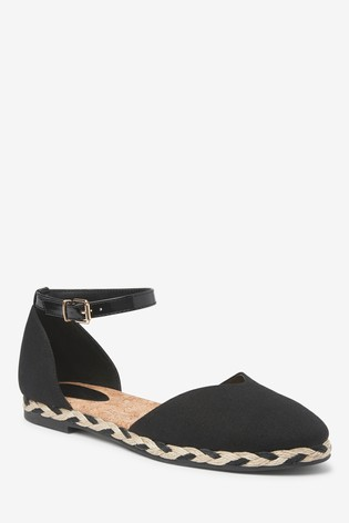 Black Espadrille Two Part Shoes