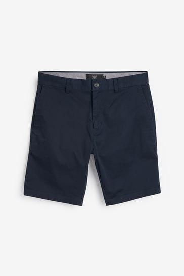 Navy Slim Fit Stretch Chino Shorts