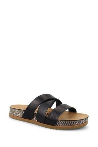 Blowfish Black Frenchy-B Platform Slide Sandals