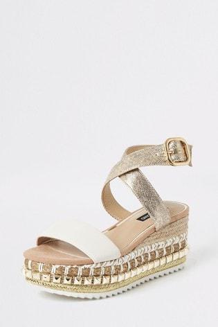 River Island Beige Stud Wedge Flatform Sandals