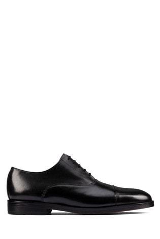 Clarks Black Leather Oliver Cap 2 Shoes