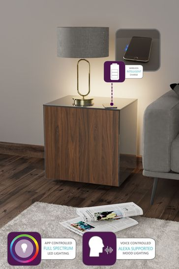 Frank Olsen Smart LED Grey Walnut Lamp Table