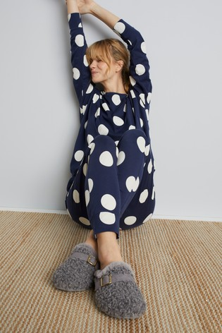 Navy Spot Cotton Pyjamas