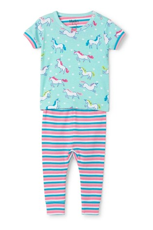 Hatley Blue Prancing Unicorns Organic Cotton Short Sleeve Pyjamas