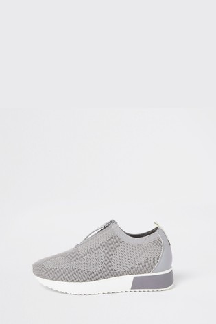 River Island Grey Knitted Trainers