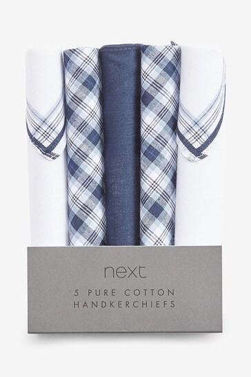 Mixed Blue Handkerchiefs Five Pack