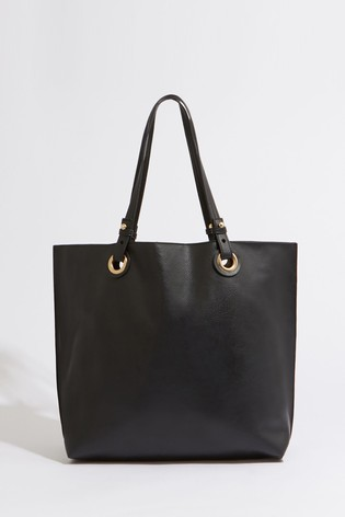 Warehouse Black Eyelet Shopper Bag