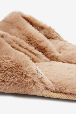 Camel Faux Fur Toe Thong Slippers