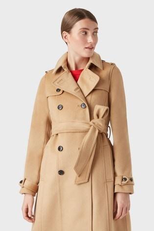 Hobbs Beige Wool Saskia Trench Coat