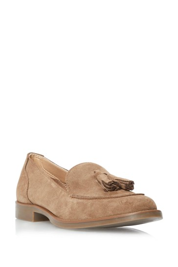 Dune London Neutral Gimme Suede Tassel Loafers